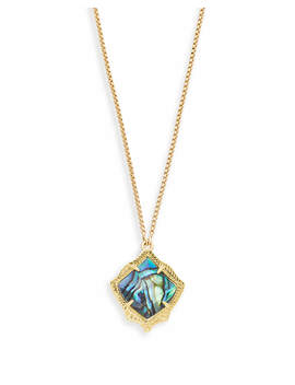 Kacey Gold Long Pendant Necklace In Abalone Shell by Kendra Scott