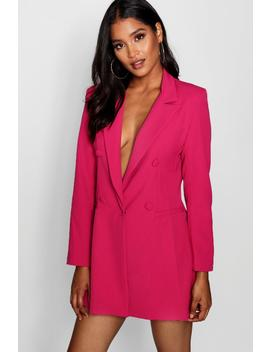 Vicky Double Breasted Power Shoulder Dress by Boohoo