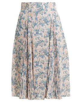 Sable Floral Print Crepe Skirt by Prada