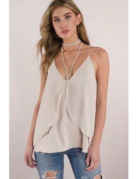 Elizabeth Beige Satin Strappy Top by Tobi