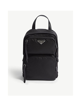 One Shoulder Nylon Backpack by Prada