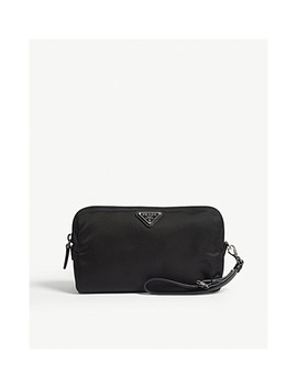 Logo Nylon Cosmetic Pouch by Prada