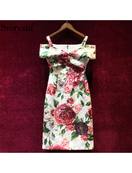 Svoryxiu Runway Custom Summer Dress Women's Elegant Peony Flower Painted Jacquard Sexy Slim Spaghetti Strap Party Dress by Svoryxiu