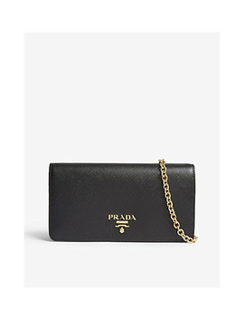 Logo Classic Leather Wallet On Chain by Prada
