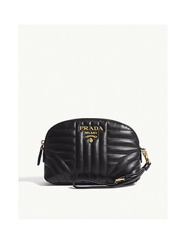 Logo Quilted Leather Pouch by Prada