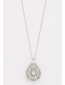 Rhinestone Teardrop Pendant Necklace by Maurices