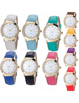 Yunanwa 10 Pack Wholesale Women Watches Leather Rhinestone Inlaid Quartz Jelly Dress Wristwatch by Yunanwa