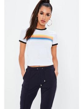 White Short Sleeve Rainbow Graphic Cropped T Shirt by Missguided