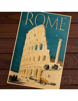 Rome Colosseo Travel Italy View Landscape Vintage Retro Kraft Canvas Painting Poster Diy Wall Stickers Posters Home Decor Gift by Ali Express