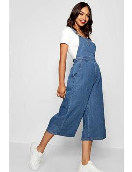 Wide Leg Cropped Rigid Denim Dungaree by Boohoo