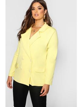 Plus Eve Double Breasted Contrast Button Blazer by Boohoo