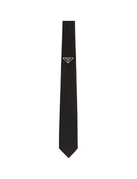 Black Triangle Logo Tie by Prada