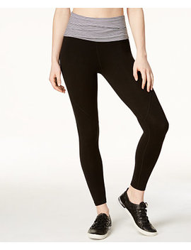 Fold Over Waistband Ankle Leggings by Calvin Klein Performance