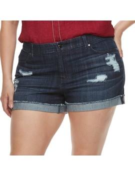 Plus Size Jennifer Lopez Distressed Mid Rise Denim Shorts by Kohl's
