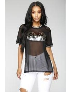 Slay And Shine Mesh Top   Black by Fashion Nova