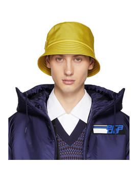 Yellow Logo Bucket Hat by Prada