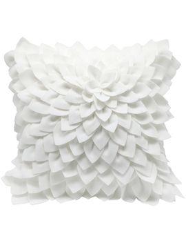 Cierra Petal Felt Pillow White by At Home