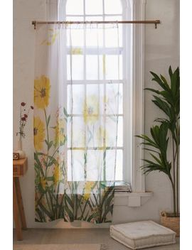 Nadja For Deny Yellow Flowers Sheer Window Panel by Deny Designs