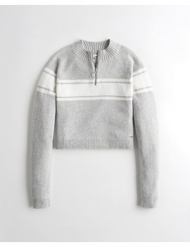Crop Half Zip Sweater by Hollister