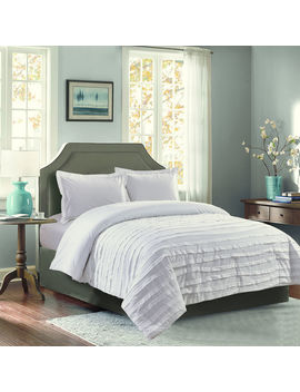 Avery White Ruffle 3 Piece Comforter King by At Home