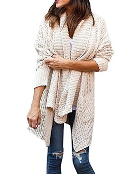 Gemijack Womens Cardigan Sweaters Chunky Oversized Knitted Long Sleeve Draped Open Front Pullover by Gemijack