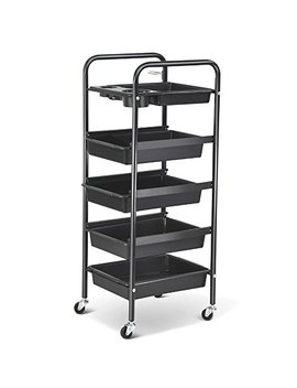 Pro 5 Drawers Tiers Multifunctional Trolley Hair Salon Storage Tray Hairdressing Beauty Makeup Cart Black Secret Santa by Popamazing