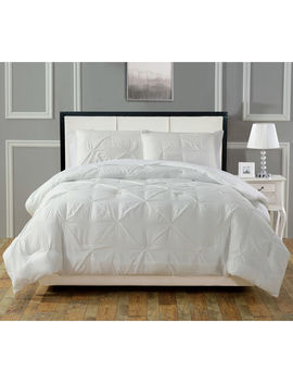 Pintuck 3 Piece Comforter King  White by At Home
