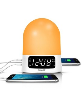Sunrise Simulator Alarm Clock With Blue Tooth Or Usb Ports White   Sharp by Shop All Sharp