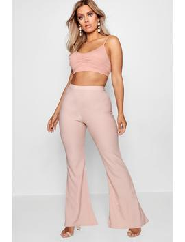 Plus Textured Flared High Waist Trouser by Boohoo