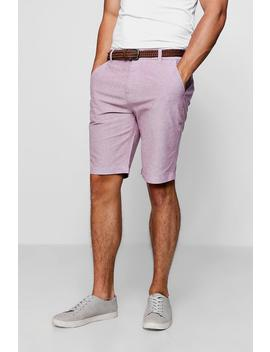 Cotton Oxford Short With Woven Belt by Boohoo