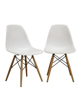 Azzo White Plastic Dining Chairs (Set Of 2) by Baxton Studio