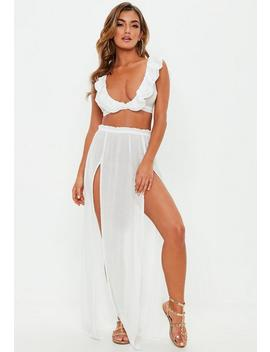 White Side Split Cover Up Maxi Skirt by Missguided