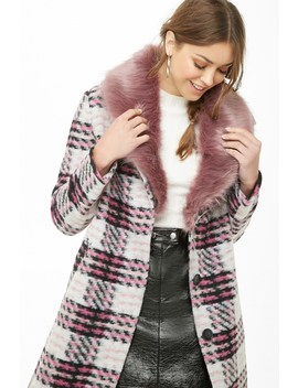 Plaid Brushed Felt Coat by Forever 21