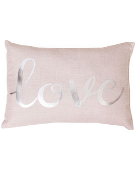 Love Rose Shimmer Pillow 12x17 In. by At Home