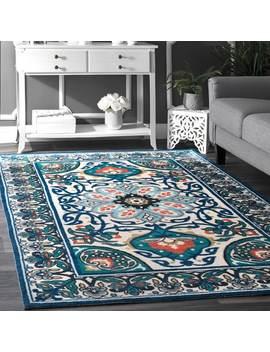 Nu Loom Modern Persian Printed Floral Blue Rug by Nuloom
