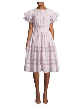 Callie Short Sleeve Pintucked Ruffle Dress by Loveshackfancy