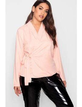 Plus Wrap Front Tie Side Blouse by Boohoo