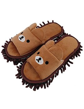 "Selric Bear Image Super Chenille Microfiber Washable Mop Slippers Shoes For Women, Floor Dust Dirt Hair Cleaner, Multi Sizes & Multi Colors Available 9 7/9""[Size:5.5 8.5.] by Selric"