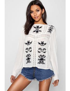 Tall Crochet Trim Embroidered Top by Boohoo