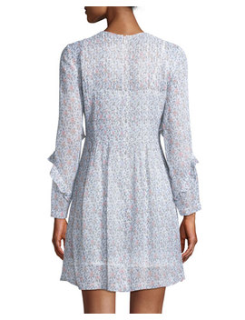Catira Pleated Mini Floral Print Silk Dress by Club Monaco