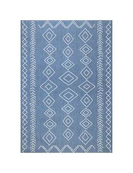 The Curated Nomad Delmar Moroccan Diamonds Blue Indoor/Outdoor Area Rug by The Curated Nomad