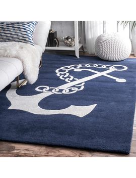 Nu Loom Handmade Anchor Navy Wool Rug (7'6 X 9'6) by Nuloom