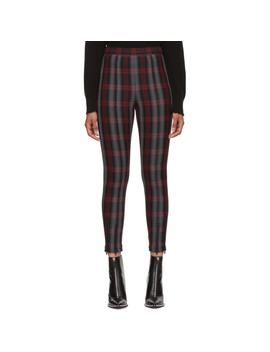 Grey & Red Plaid Fitted Zip Leggings by T By Alexander Wang