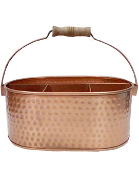 Copper Hammered Flatware Caddy by At Home