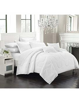 Chic Home Donna 5 Piece Comforter Set Minimalist Solid Color Design With Pillows Shams, Twin White by Chic Home