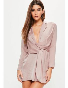 Petite Pink Hammered Satin Wrap Plunge Dress by Missguided