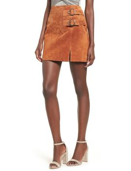 Double Buckle Suede Skirt by Blanknyc