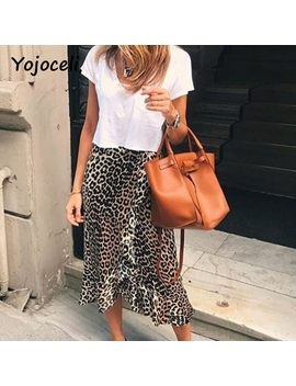 Yojoceli Sexy Leopard Print Ruffled Skirt Bottom Women Asymmetrical Female Party Club Skirt Bust Skirt by Yojoceli