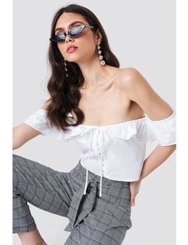 Ruffle Detail Off Shoulder Crop Top by Na Kd
