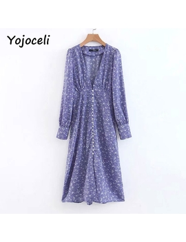 Yojoceli Chic Purple Flroal Print Dress 2018 Autumn Winter Long Sleeve Button Dress Split Deep V Neck Midi Dress by Yojoceli